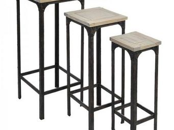 J-line - set de 3 tables d'appoint design industriel j-lin - Nest Of Tables