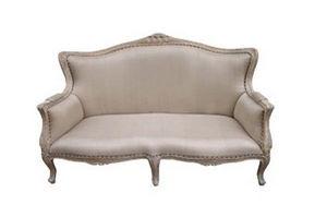 DECO PRIVE - banquette en bois ceruse et tissu grey modele loui - 2 Seater Sofa