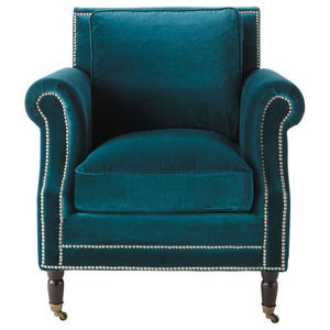 Maisons du monde - fauteuil velours bleu dandy - Armchair