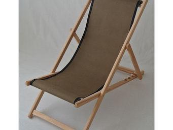 Les Toiles Du Soleil - chilienne uni (taupe-bord noir) - Deck Chair