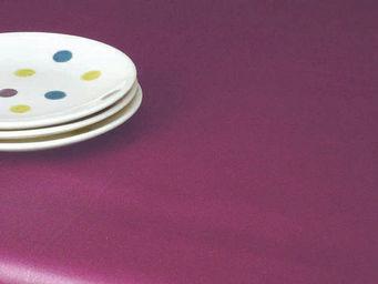 FLEUR DE SOLEIL - nappe enduite uni prune 160x160 - Coated Tablecloth