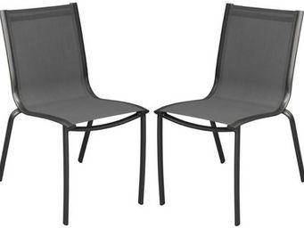 PROLOISIRS - chaise linea en aluminium royal grey et textilène  - Garden Chair