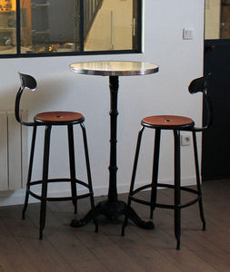 Ardamez - mange debout émaillé rond / table haute / ivoire - Bar Table
