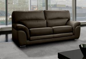 WHITE LABEL - cloe canapé 3 places cuir vachette marron - 3 Seater Sofa
