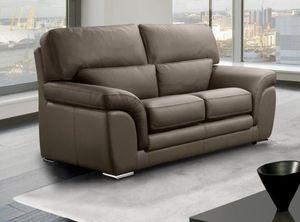 WHITE LABEL - cloe canapé cuir vachette 2 places taupe - 2 Seater Sofa