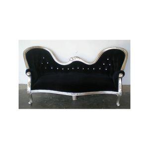 DECO PRIVE - canapé baroque en bois argenté et velours noir et - 3 Seater Sofa