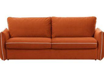 WHITE LABEL - canapé fixe linus 2 places en microfibre abricot - 2 Seater Sofa