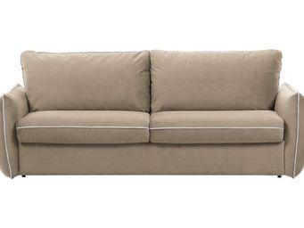 WHITE LABEL - canapé fixe linus 2-3 places beige - 2 Seater Sofa