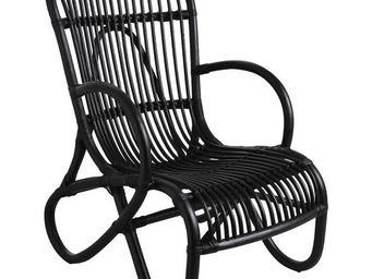 Aubry-Gaspard - fauteuil en rotin patiné nice noir - Armchair