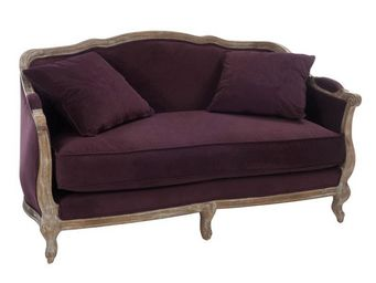 WHITE LABEL - canapé 2 places aubergine - toinette - l 154 x l 7 - 2 Seater Sofa