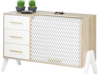 WHITE LABEL - meuble d\'entrée à rideau, 3 tiroirs - arkos n°1 -