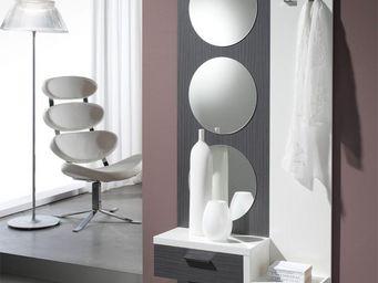 WHITE LABEL - meuble d\'entrée cendre/blanc + miroir - gomelle -