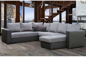 WHITE LABEL - canapé convertible listowel angle panoramique noir - Adjustable Sofa