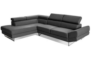 WHITE LABEL - canapé d'angle gauche fixe venise cuir éco graphi - Adjustable Sofa