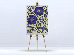 la Magie dans l'Image - toile fleurs bleues - Digital Wall Coverings