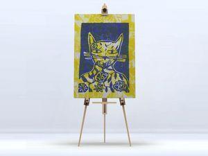 la Magie dans l'Image - toile monsieur chat jaune - Digital Wall Coverings