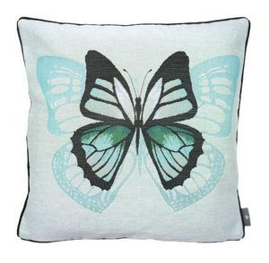 Art De Lys - un papillon, fond bleu - Square Cushion