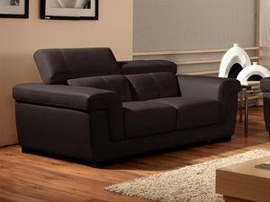 WHITE LABEL - canapé cuir 2 places evasion - 2 Seater Sofa