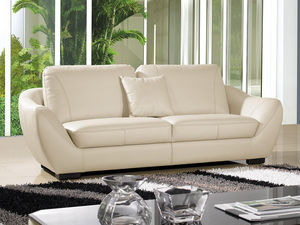 WHITE LABEL - canapé cuir 3 places julietta - 3 Seater Sofa