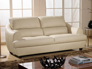 WHITE LABEL - canapé cuir 3 places mona - 3 Seater Sofa