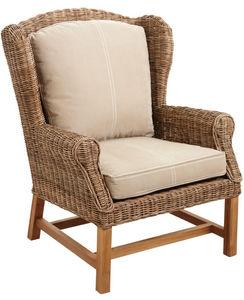 Aubry-Gaspard - fauteuil en poelet gris et teck - Armchair