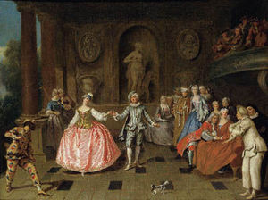 Virginie Pitchal - antoine pesne le bal costumé - Oil On Canvas And Oil On Panel