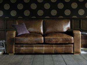 Indigo Furniture - vintage square leather sofa - 2 Seater Sofa