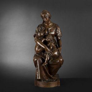 Expertissim - paul dubois. la charité. sculpture en bronze. - Sculpture