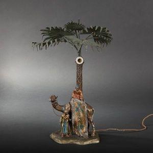Expertissim - pied de lampe en régule polychrome - Lamp Stand