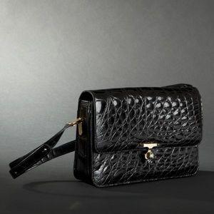 Expertissim - sac en crocodile noir, griffé célina - Handbag