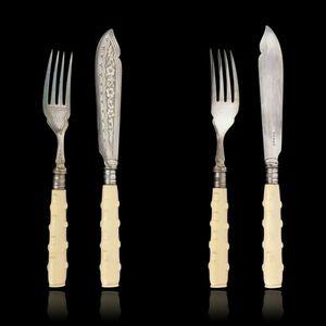 Expertissim - six couverts à poisson en métal argenté anglais - Fish Knife And Fork Set
