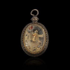 Expertissim - reliquaire en verre églomisé d'époque louis xiii - Pendent