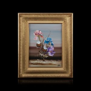 Expertissim - bernard louedin. iris et chardons - Decorative Painting