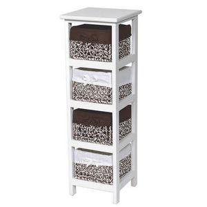 WHITE LABEL - meuble bois de paulownia avec 4 panières doublées - Bathroom Shelf