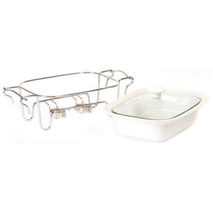 WHITE LABEL - plat en céramique sur support en inox couvercle va - Baking Tray
