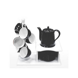 WHITE LABEL - service à café yin yang sur son support en bois - Coffee Service