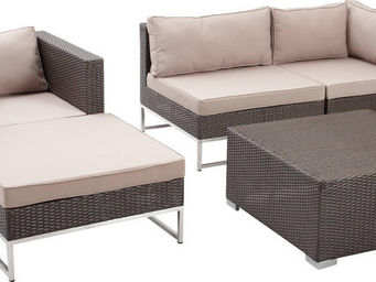 Aubry-Gaspard - salon de jardin 5 pièces en mirage rotin synthétiq - Garden Furniture Set