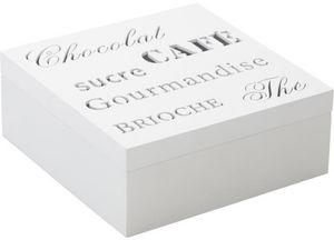 Aubry-Gaspard - boite rangement 4 compartiments en bois blanc 18x1 - Storage Box