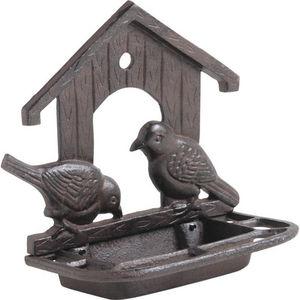 AUBRY GASPARD - mangeoire murale couple oiseaux en fonte 22x11x21, - Bird Feeder