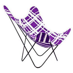 NO-MAD 97% INDIA - purple chowkad/patta ajara chair cover - Armchair Cover