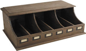 Aubry-Gaspard - range-couverts 6 compartiments bois vieilli - Cutlery Tray