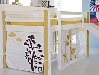 WHITE LABEL - lit surélevé comete en pin massif blanc et jaune a - Mezzanine Bed Child
