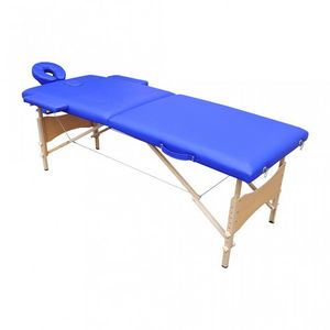 WHITE LABEL - table de massage 2 zones bleu - Massage Table