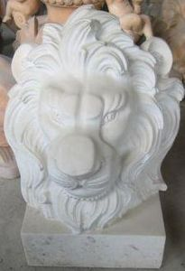 Demeure et Jardin - tete de lion marbre blanc - Animal Sculpture