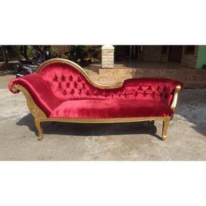 DECO PRIVE - meridienne velours rouge et bois argenté modèle fl - Lounge Sofa
