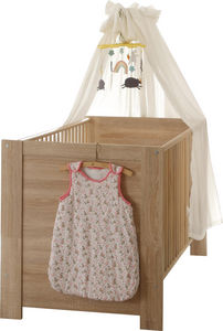 WHITE LABEL - lit bébé 70x140 coloris chêne sonoma - Travel Cot