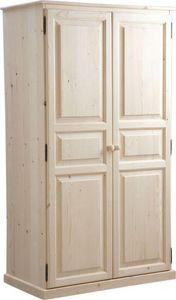 Aubry-Gaspard - armoire bois brut 2 portes - Bedroom Wardrobe