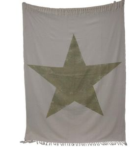 BYROOM - green print star - Bath Towel