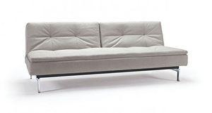 INNOVATION - canapé design dublexo couleur lin pieds chromés co - Futon