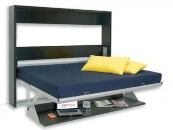 WHITE LABEL - armoire lit transversale smile structure wengé faç - Wall Bed